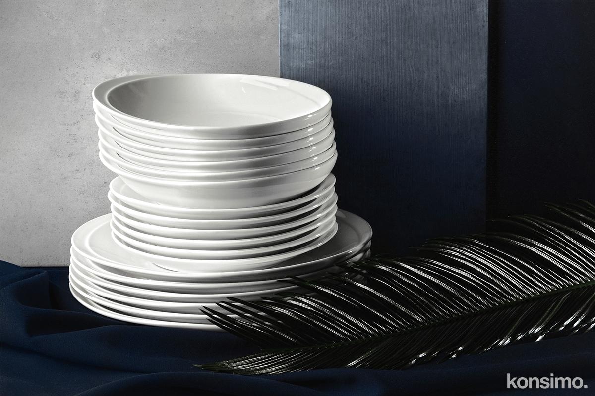 Zestaw obiadowy porcelanowy dla 6 osób biały