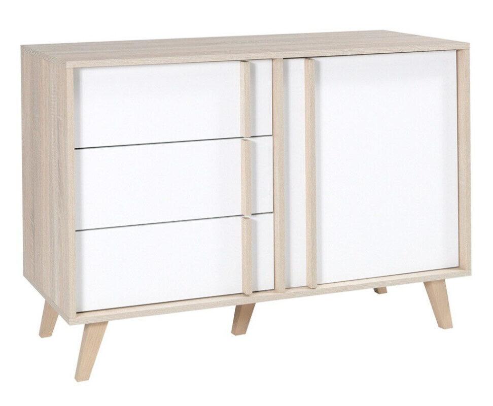 Minimalistyczna komoda z półkami i szufladami biała / dąb
