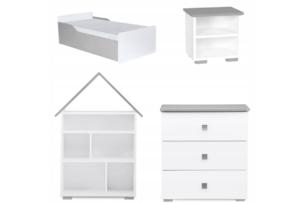 PABIS, https://konsimo.pl/kolekcja/pabis/ Zestaw meble do pokoju dziecka szare 4 elementy biały/szary - zdjęcie