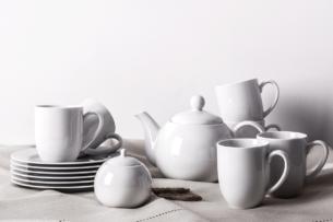 MUSCARI, https://konsimo.pl/kolekcja/muscari/ Zestaw herbaciany, 6 os, (14el) biały - zdjęcie