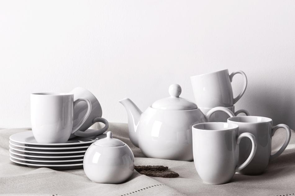 MUSCARI Serwis herbaciany porcelana dla 6 osób biała biały - zdjęcie 0