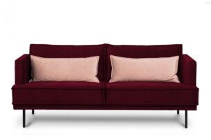 GANZO, https://konsimo.pl/kolekcja/ganzo/ Sofa 3 osobowa do salonu z poduszkami czerwona bordowy/różowy - zdjęcie