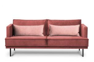 GANZO, https://konsimo.pl/kolekcja/ganzo/ Sofa 3 osobowa do salonu z poduszkami różowa koralowy/różowy - zdjęcie