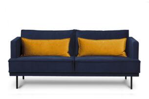 GANZO, https://konsimo.pl/kolekcja/ganzo/ Sofa 3 osobowa do salonu z poduszkami niebieska granatowy/żółty - zdjęcie