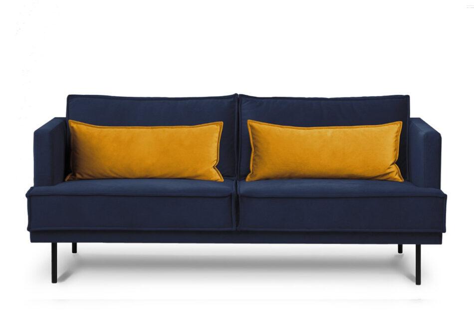 GANZO Sofa 3 osobowa do salonu z poduszkami niebieska granatowy/żółty - zdjęcie 0
