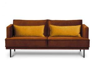 GANZO, https://konsimo.pl/kolekcja/ganzo/ Sofa 3 osobowa do salonu z poduszkami pomarańczowa pomarańczowy/żółty - zdjęcie