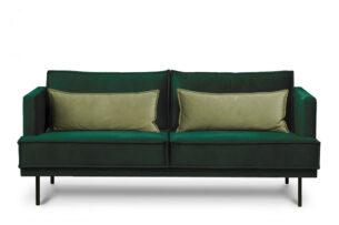 GANZO, https://konsimo.pl/kolekcja/ganzo/ Sofa 3 osobowa do salonu z poduszkami butelkowa zieleń ciemny zielony/jasny zielony - zdjęcie