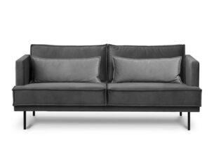 GANZO, https://konsimo.pl/kolekcja/ganzo/ Sofa 3 osobowa do salonu z poduszkami szara ciemny szary - zdjęcie
