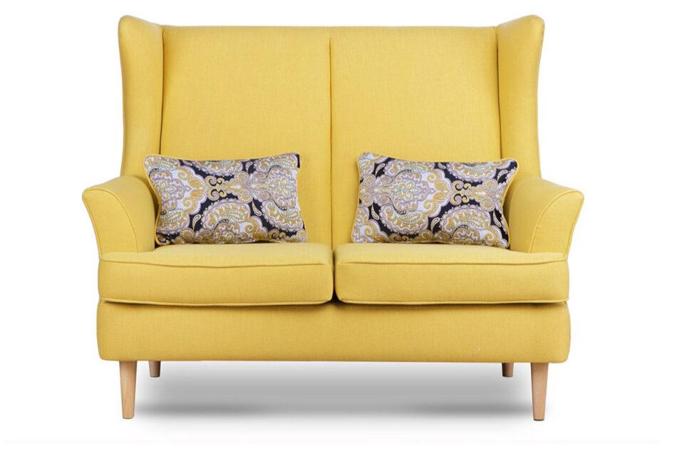 STRALIS Skandynawska sofa dwuosobowa żółta na nóżkach żółty - zdjęcie 1