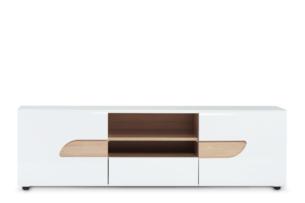 AVERO, https://konsimo.pl/kolekcja/avero/ Szafka rtv 165 cm w stylu skandynawskim biała biały matowy/biały połysk/dąb - zdjęcie