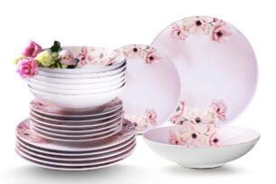 BASIMA, https://konsimo.pl/kolekcja/basima/ Zestaw obiadowy 12 os. Różowy / wzór kwiatów wiśni różowy/biały - zdjęcie