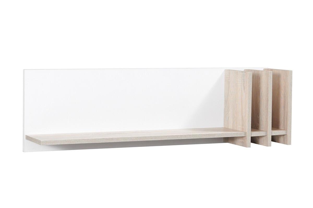 Minimalistyczna półka wisząca 100 cm biała / dąb