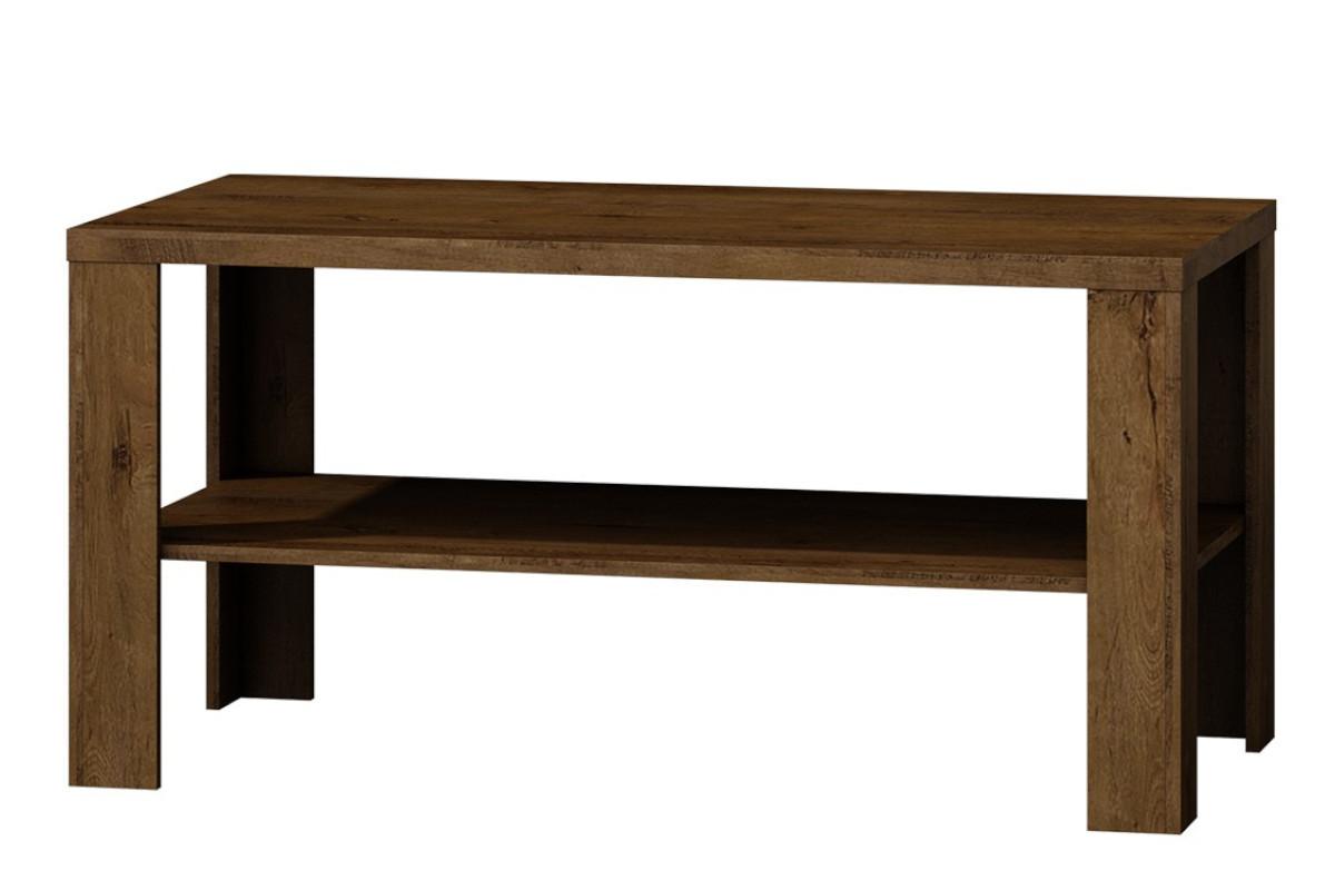 Stolik kawowy z półką w klasycznym stylu jesion