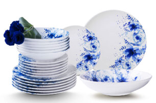 GENTIA, https://konsimo.pl/kolekcja/gentia/ Zestaw obiadowy, 6 os. (18el.) biały/niebieski - zdjęcie