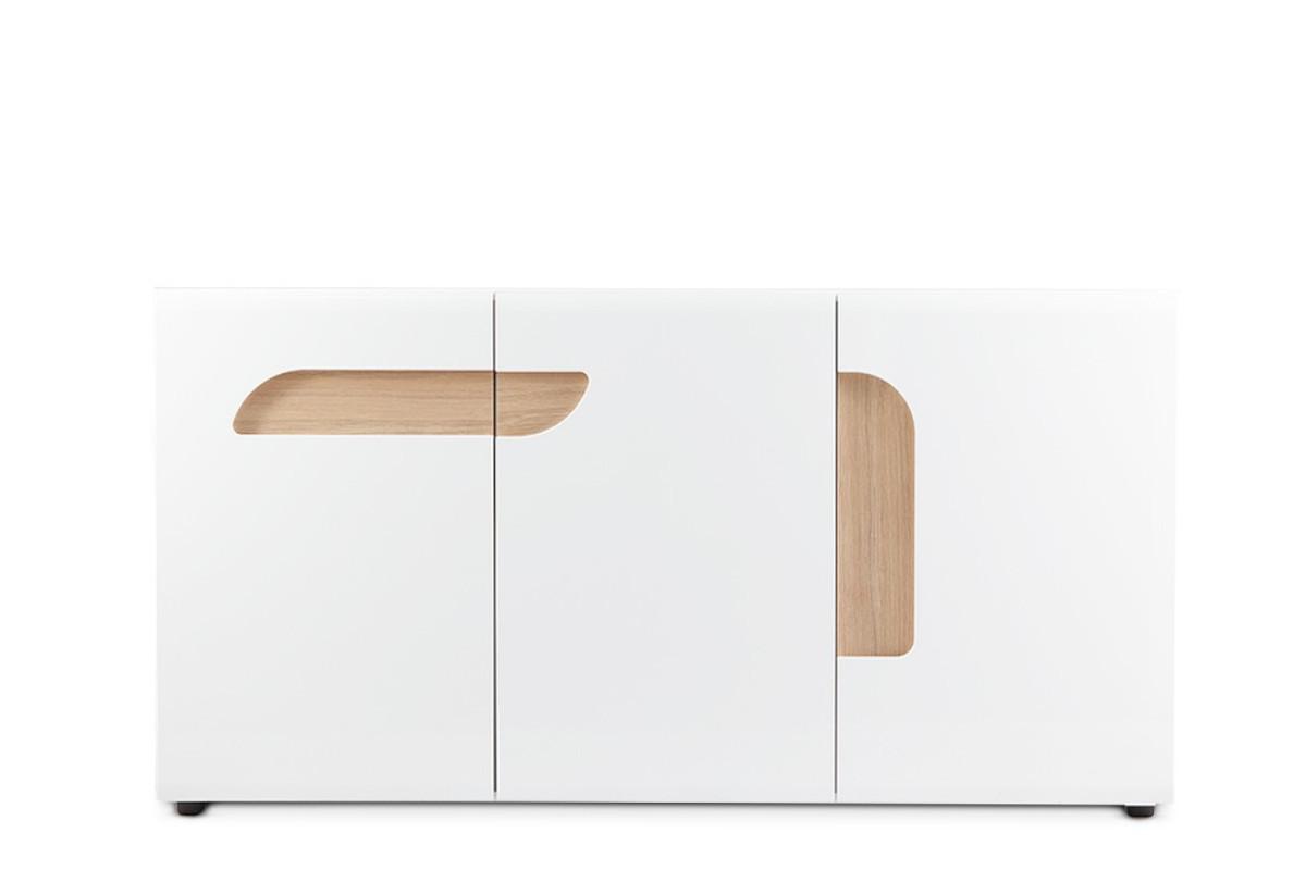 Duża komoda z półkami 165 cm w stylu skandynawskim biała