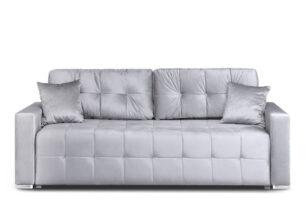 BASIM, https://konsimo.pl/kolekcja/basim/ Sofa 3 osobowa rozkładana glamour tkanina połysk platyna szary - zdjęcie