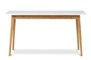 FRISK, https://konsimo.pl/kolekcja/frisk/ Biały rozkładany stół w stylu skandynawskim biały/dąb naturalny - zdjęcie