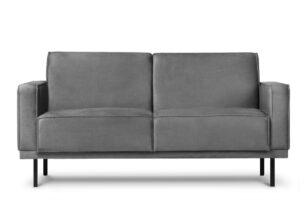 BARO, https://konsimo.pl/kolekcja/baro/ Prosta sofa dwuosobowa na metalowych nóżkach szara ciemny szary - zdjęcie