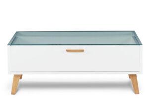 FRISK, https://konsimo.pl/kolekcja/frisk/ Stolik kawowy skandynawski biały z szufladą biały/dąb naturalny - zdjęcie