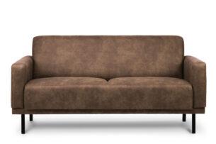 BARO, https://konsimo.pl/kolekcja/baro/ Prosta sofa dwuosobowa na metalowych nóżkach brązowa jasny brąz - zdjęcie