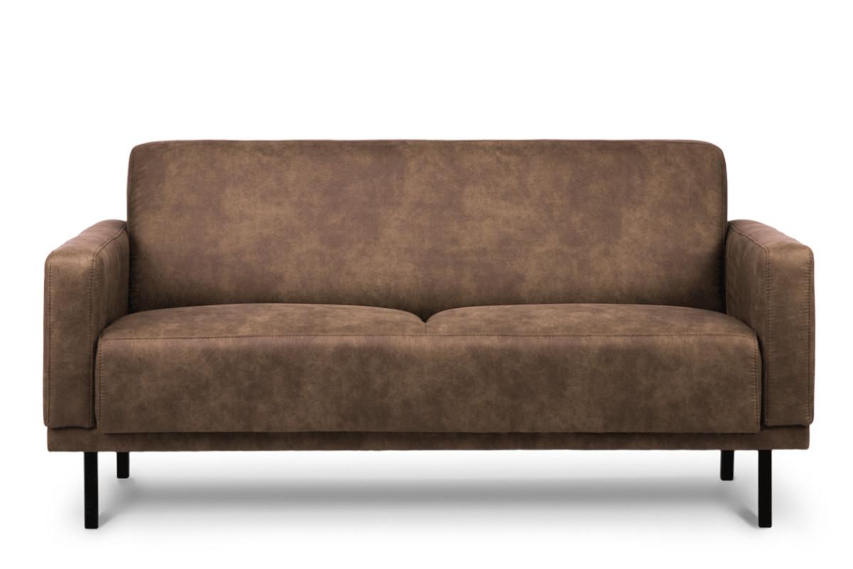 Prosta sofa dwuosobowa na metalowych nóżkach brązowa