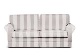 CARLA, https://konsimo.pl/kolekcja/carla/ Klasyczna sofa w paski biało-beżowa beżowy/biały - zdjęcie