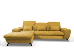 ZAFER, https://konsimo.pl/kolekcja/zafer/ Rozkładany narożnik lewy z ruchomymi zagłówkami żółty żółty - zdjęcie