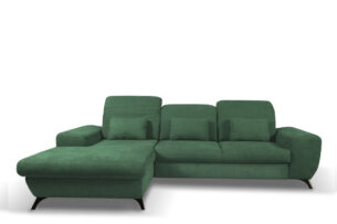 ZAFER, https://konsimo.pl/kolekcja/zafer/ Rozkładany narożnik lewy z ruchomymi zagłówkami zielony zielony - zdjęcie