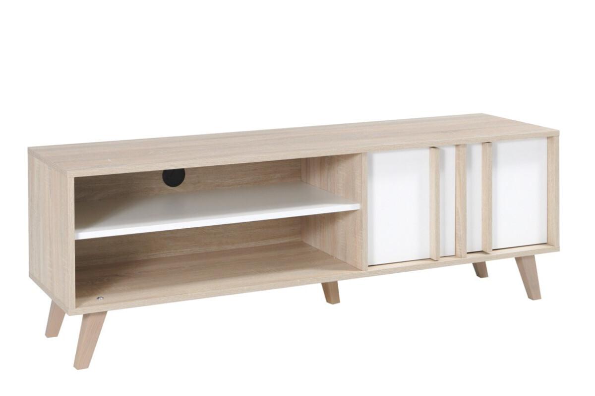 Minimalistyczna szafka rtv 150 cm z półkami biała / dąb