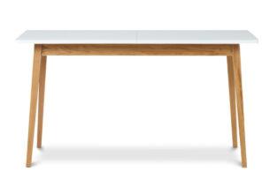 FRISK, https://konsimo.pl/kolekcja/frisk/ Biały stół skandynawski rozkładany biały/dąb naturalny - zdjęcie