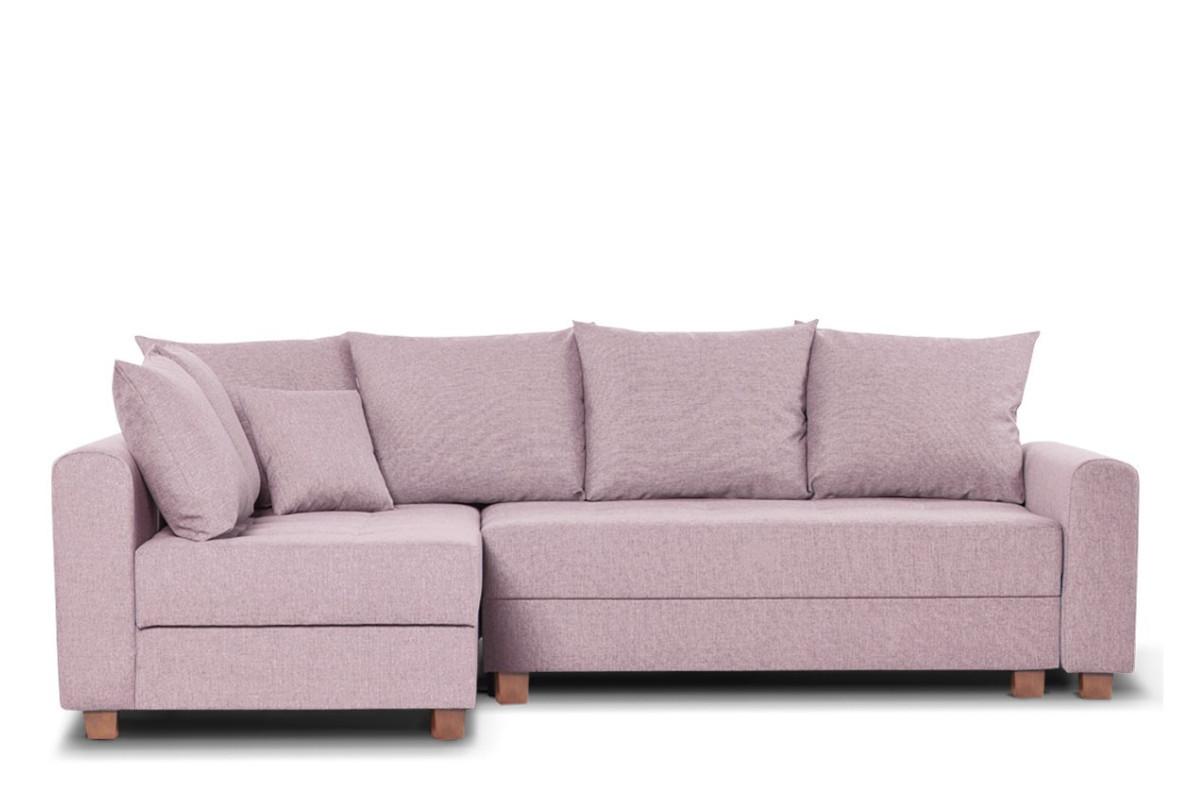 Narożnik z funkcją spania różowy