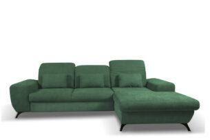 ZAFER, https://konsimo.pl/kolekcja/zafer/ Rozkładany narożnik prawy z ruchomymi zagłówkami zielony zielony - zdjęcie