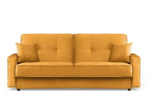 ORIO, https://konsimo.pl/kolekcja/orio/ Żółta rozkładana kanapa do salonu welur żółty - zdjęcie