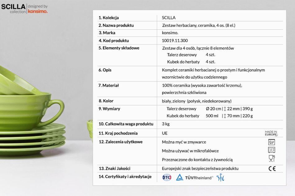 SCILLA Zestaw herbaciany dla 4 osób zielony zielony - zdjęcie 3