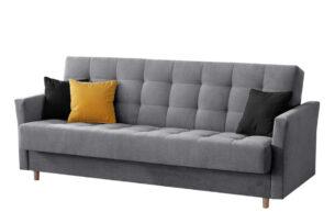 MEGLO, https://konsimo.pl/kolekcja/meglo/ Sofa rozkładana sprężyny bonell szara szary/żółty/czarny - zdjęcie