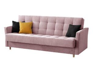 MEGLO, https://konsimo.pl/kolekcja/meglo/ Sofa rozkładana sprężyny bonell różowa różowy/żółty/czarny - zdjęcie