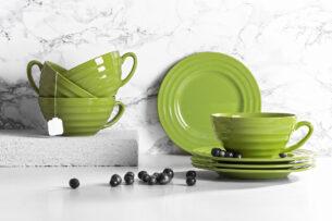 SCILLA, https://konsimo.pl/kolekcja/scilla/ Zestaw herbaciany, 4 os. (8 el) zielony - zdjęcie