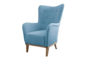 ELOSI, https://konsimo.pl/kolekcja/elosi/ Skandynawski fotel drewniany stelaż niebieski turkusowy - zdjęcie