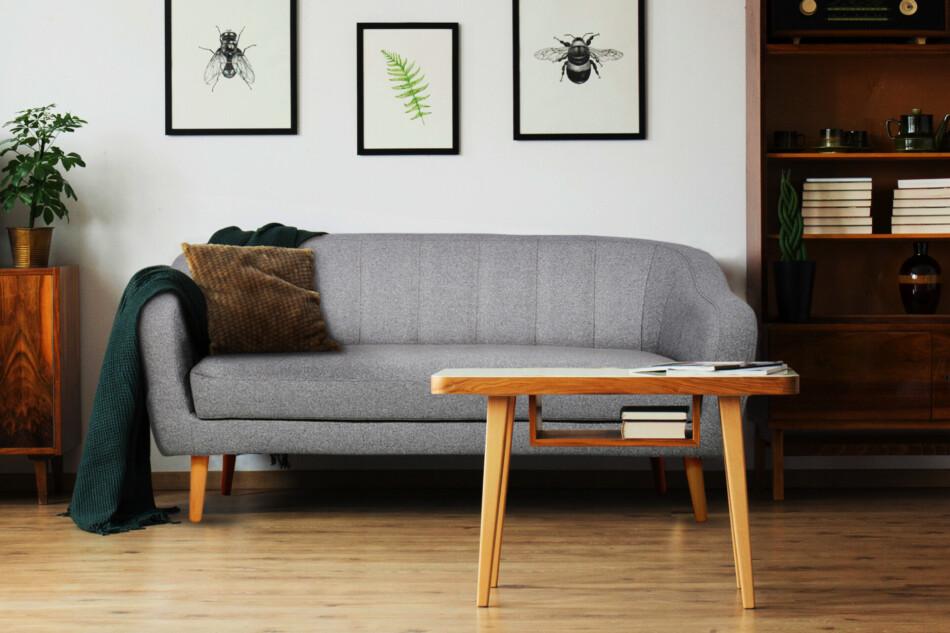 HAMPI Skandynawska sofa 3 osobowa na drewnianych nóżkach szara ciemny szary - zdjęcie 1
