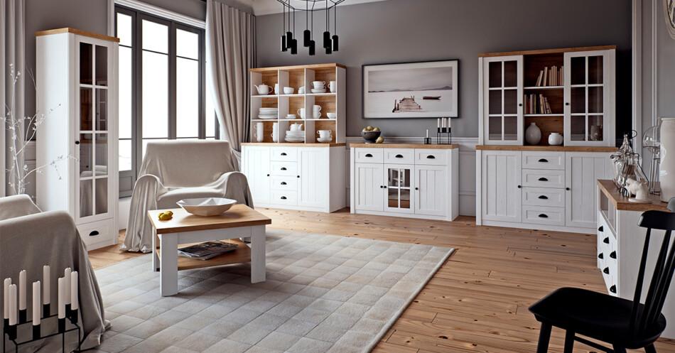 LEMAS Komoda z półkami i szufladami styl prowansalski biała biały/ciemny dąb - zdjęcie 1