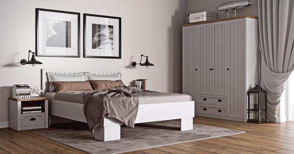 LEMAS Komoda z półkami i szufladami styl prowansalski biała biały/ciemny dąb - zdjęcie 2