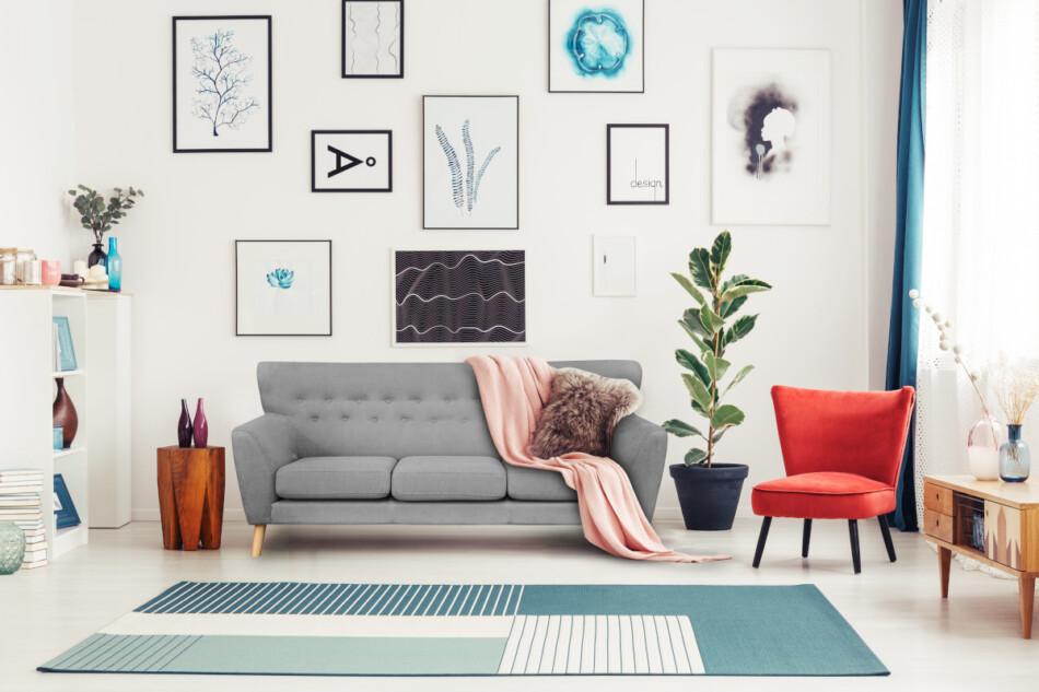 NEBRIS Skandynawska sofa na nóżkach 3 osobowa szara szary - zdjęcie 5