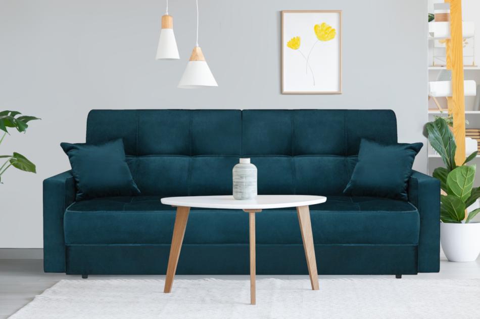 ORIO Granatowa rozkładana kanapa do salonu welur turkusowy - zdjęcie 1