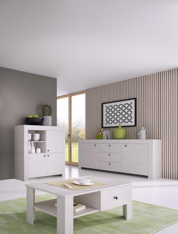 SAMBU Szeroka minimalistyczna komoda wzór drewna biała biały - zdjęcie 1