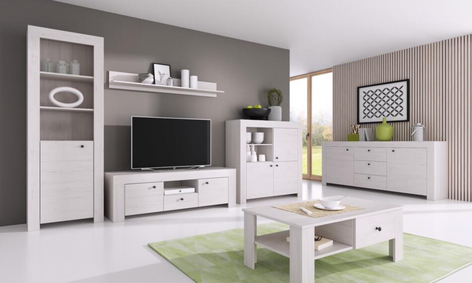 SAMBU Szeroka minimalistyczna komoda wzór drewna biała biały - zdjęcie 2