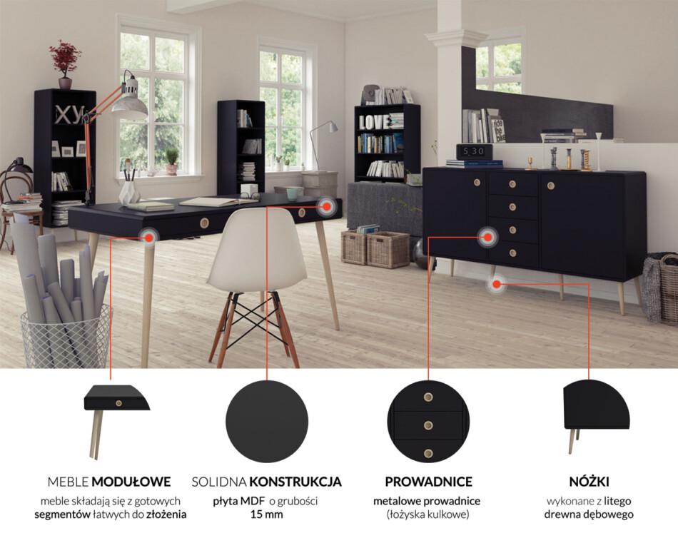 SOFTLINE Skandynawskie duże biurko na nóżkach czarne czarny/dąb - zdjęcie 9