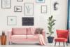 TOZZI Welurowa sofa 2 osobowa na metalowych nóżkach różowa różowy - zdjęcie 2