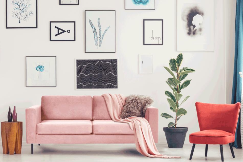TOZZI Welurowa sofa 2 osobowa na metalowych nóżkach różowa różowy - zdjęcie 1