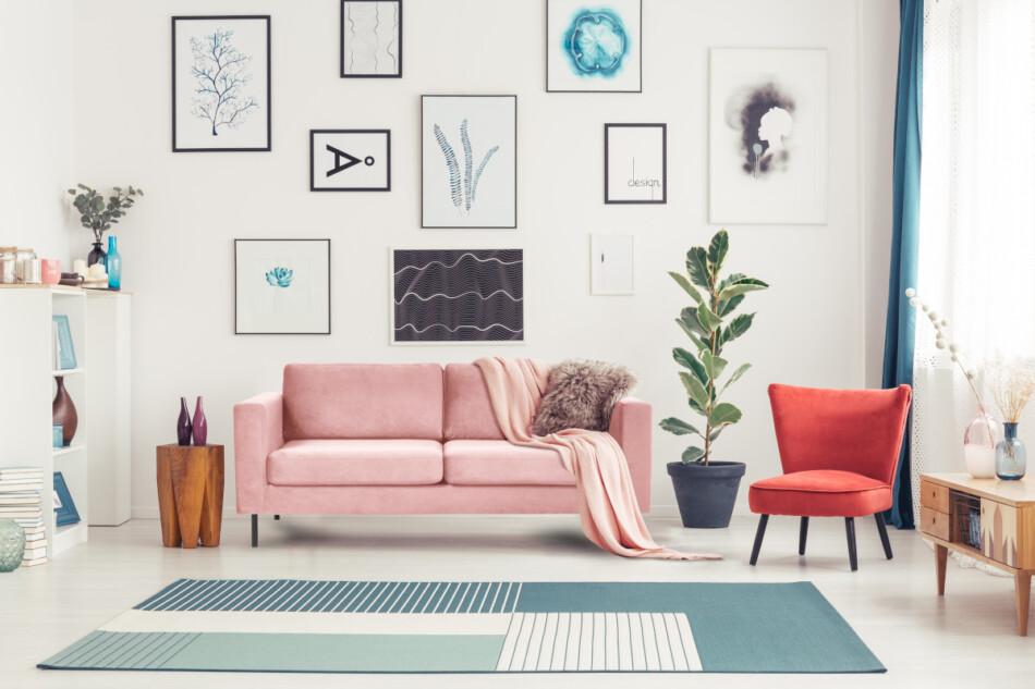 TOZZI Welurowa sofa 200 cm na metalowych nóżkach różowa różowy - zdjęcie 4