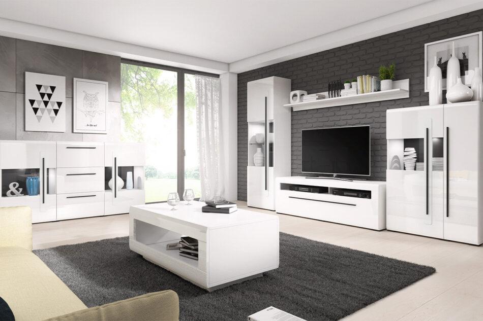 TULSA Komoda z witryną 180 cm w stylu modern biały połysk biały połysk - zdjęcie 1